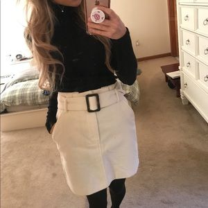White cord skirt with belt